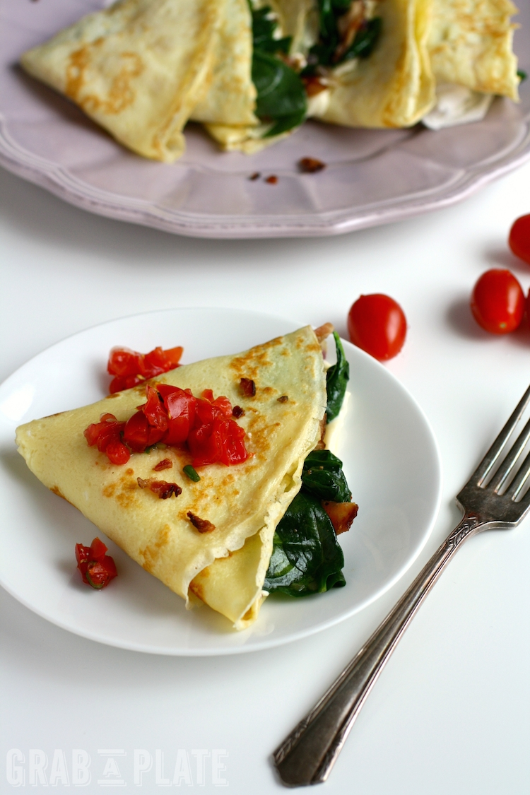 Enjoy a treat for breakfast: Spinach, Bacon, and Brie Crêpes are easy to make, too!