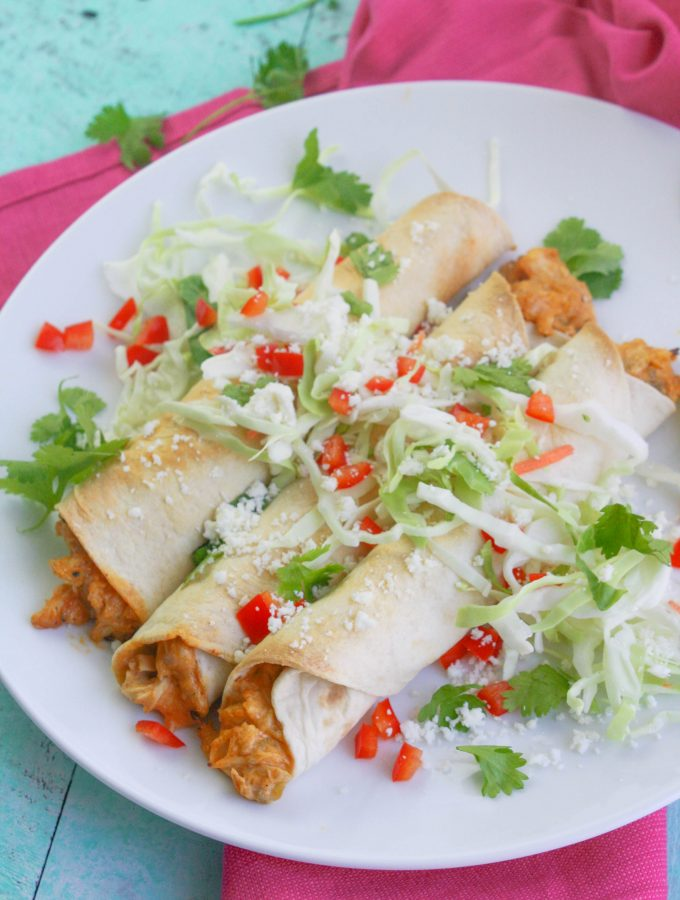 Baked Chicken and Green Chile Taquitos
