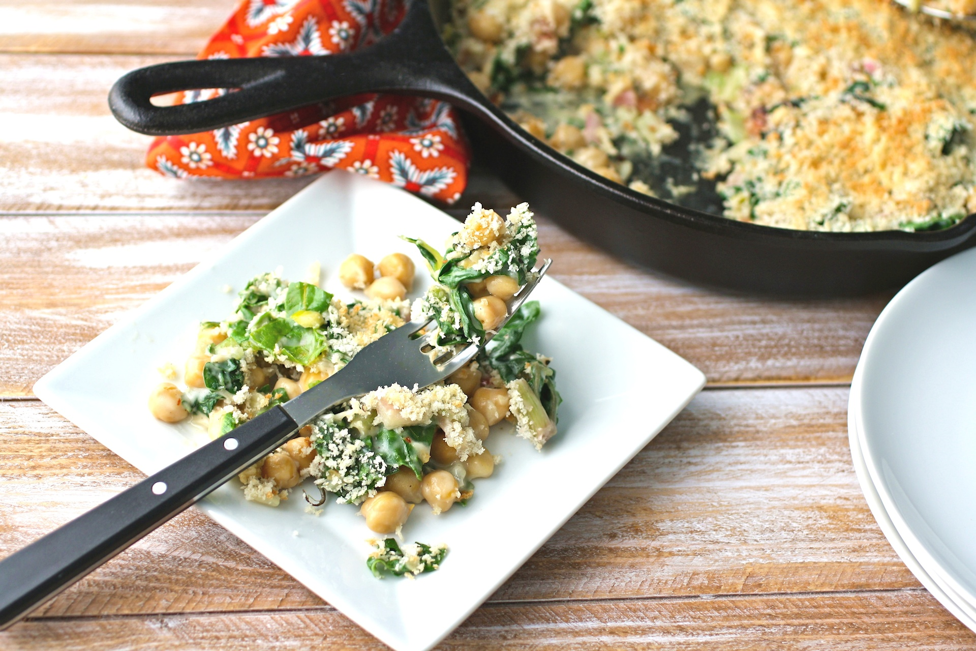 Dig in to a dish of Creamy Skillet Swiss Chard and Chickpeas with Crunchy Breadcrumbs