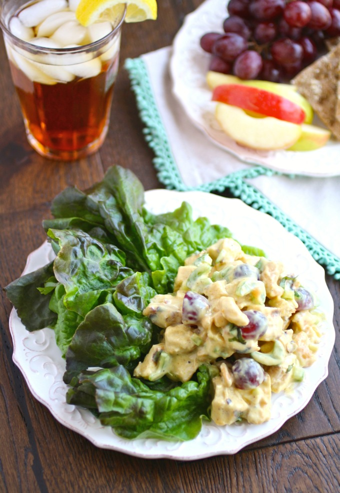 Easy Coronation Chicken Salad is perfect over your favorite salad greens!