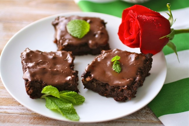 Dairy-free frosted mint julep and black bean brownies