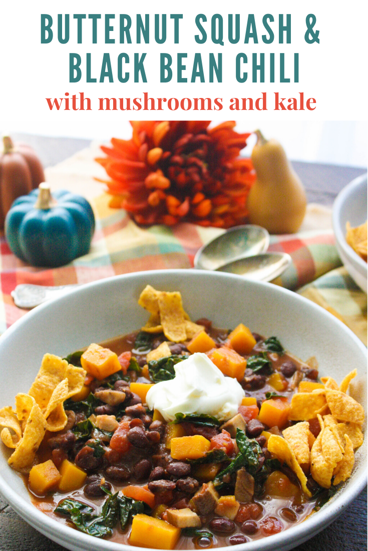 Butternut Squash and Black Bean Chili with Mushrooms & Kale is a delightful and comforting dish you'll love. Butternut Squash and Black Bean Chili with Mushrooms & Kale is a perfect main dish for a chilly night!