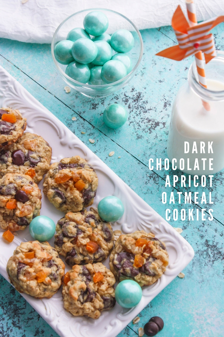 Dark Chocolate Apricot Oatmeal Cookies are a fun snack or dessert. You'll enjoy these Dark Chocolate Apricot Oatmeal Cookies, for sure!