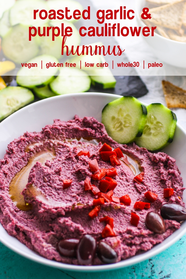 Roasted Garlic and Purple Cauliflower Hummus is a tasty lower-carb snack you'll love. Roasted Garlic and Purple Cauliflower Hummus is colorful and easy to make as your next snack or appetizer.