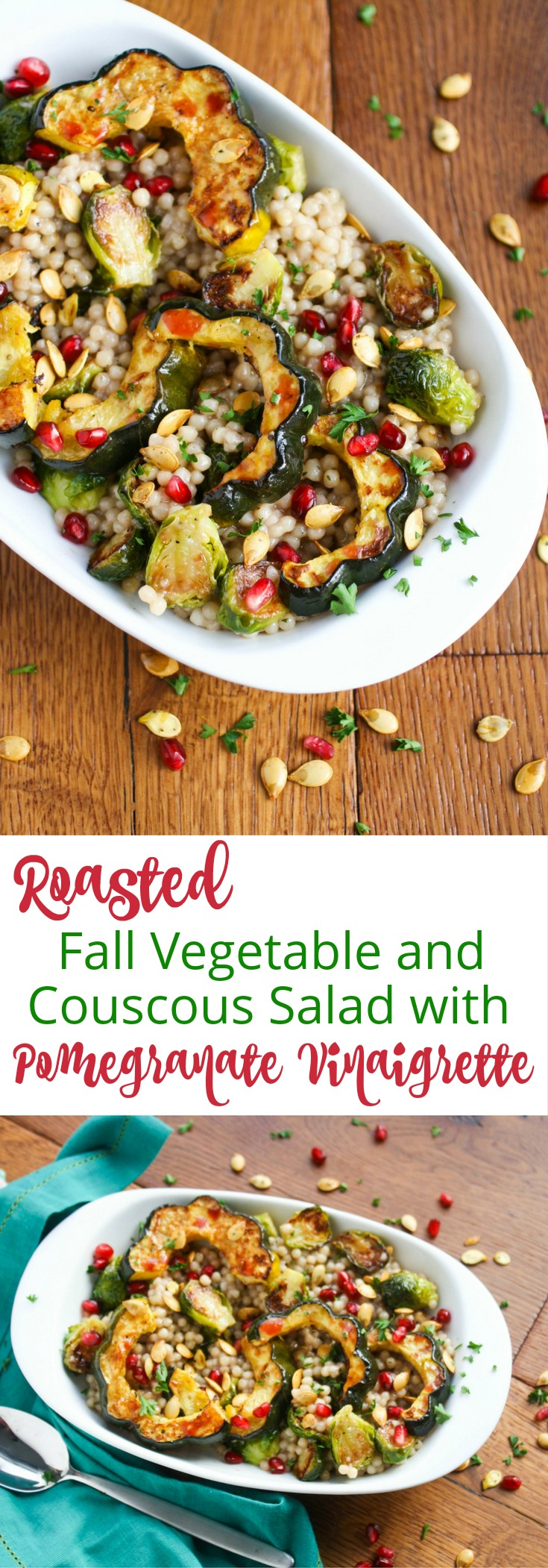 Roasted Fall Vegetable and Couscous Salad with Pomegranate Vinaigrette is a tasty and seasonal side. You'll love this side dish for a seasonal treat.