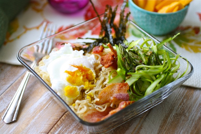 Ramen noodles with Bacon, Egg and Asparagus