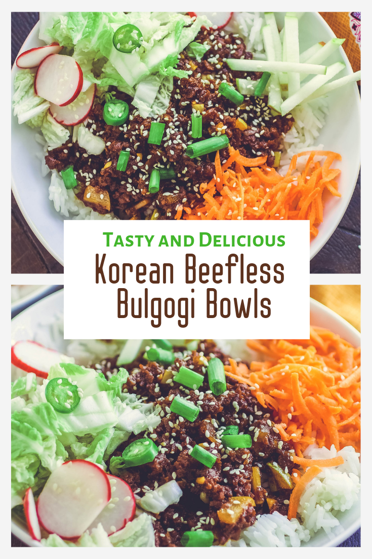 Korean Beefless Bulgogi Bowls are a delight as a meatless main dish. You'll love the flavors and colors in these meatless, Korean Beefless Bulgogi Bowls.