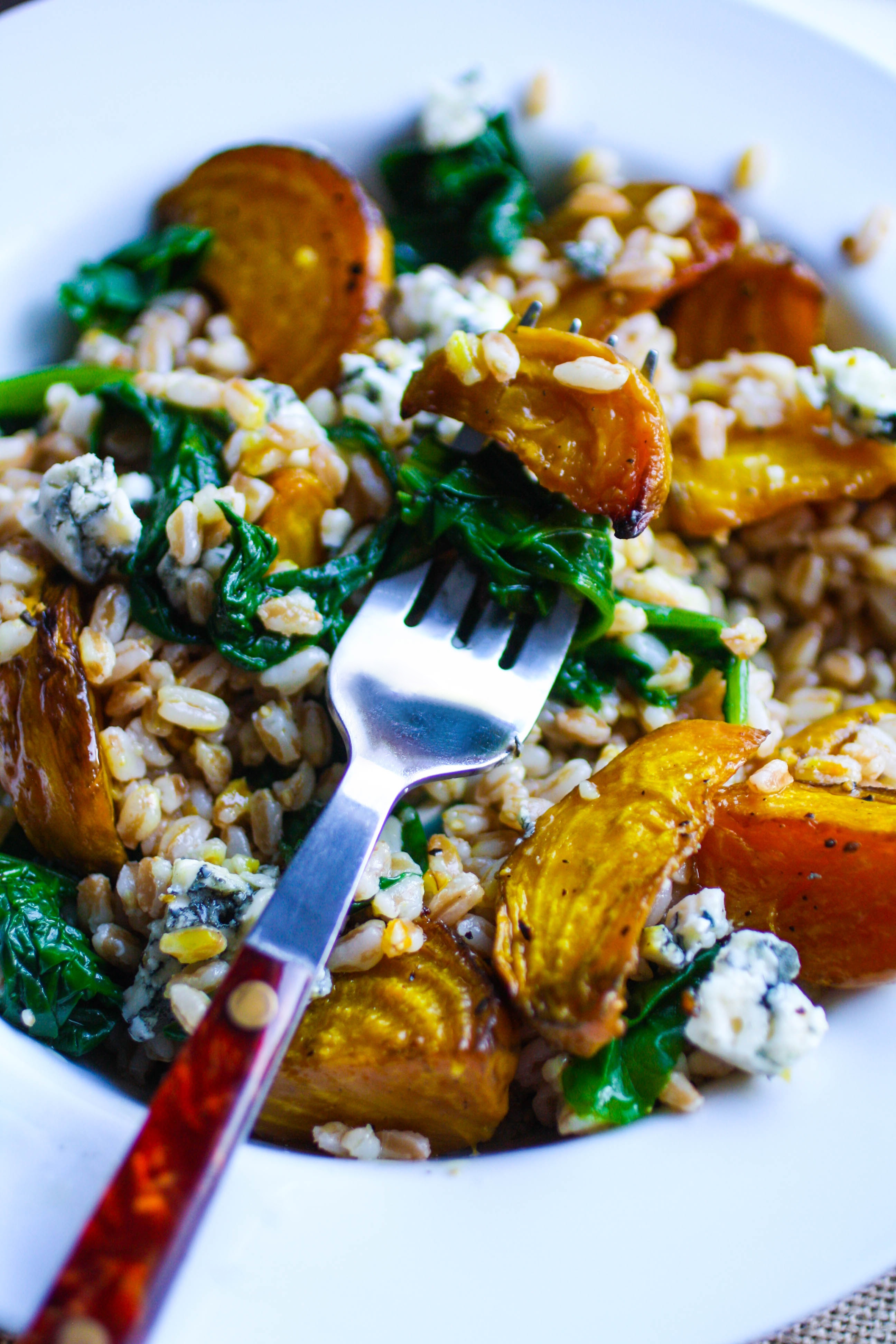 Roasted Beet & Farro Salad is a lovely dish to serve in the winter. This salad shines with beets, farro, and your favorite vinaigrette!