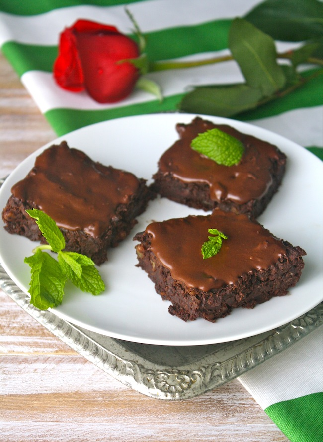 Dairy-free Frosted Mint Julep Brownies