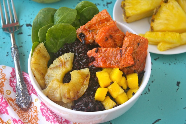 Salmon Rice Bowls with Pineapple-Sriracha Glaze