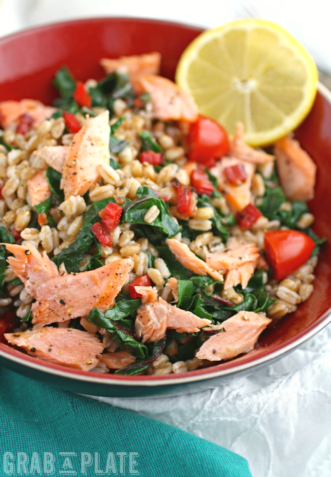 Toss together a fabulous meal like Warm Farro, Salmon & Swiss Chard Bowls with Lemon Vinaigrette!