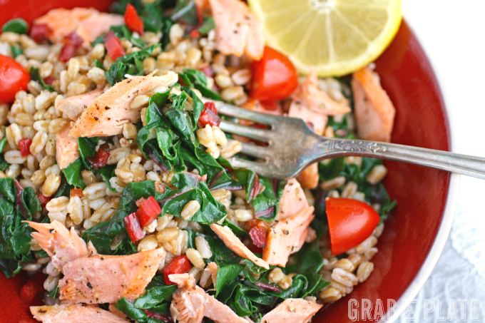 Enjoy a bowl meal sooner than later! Warm Farro, Salmon & Swiss Chard Bowls are filling and flavorful!