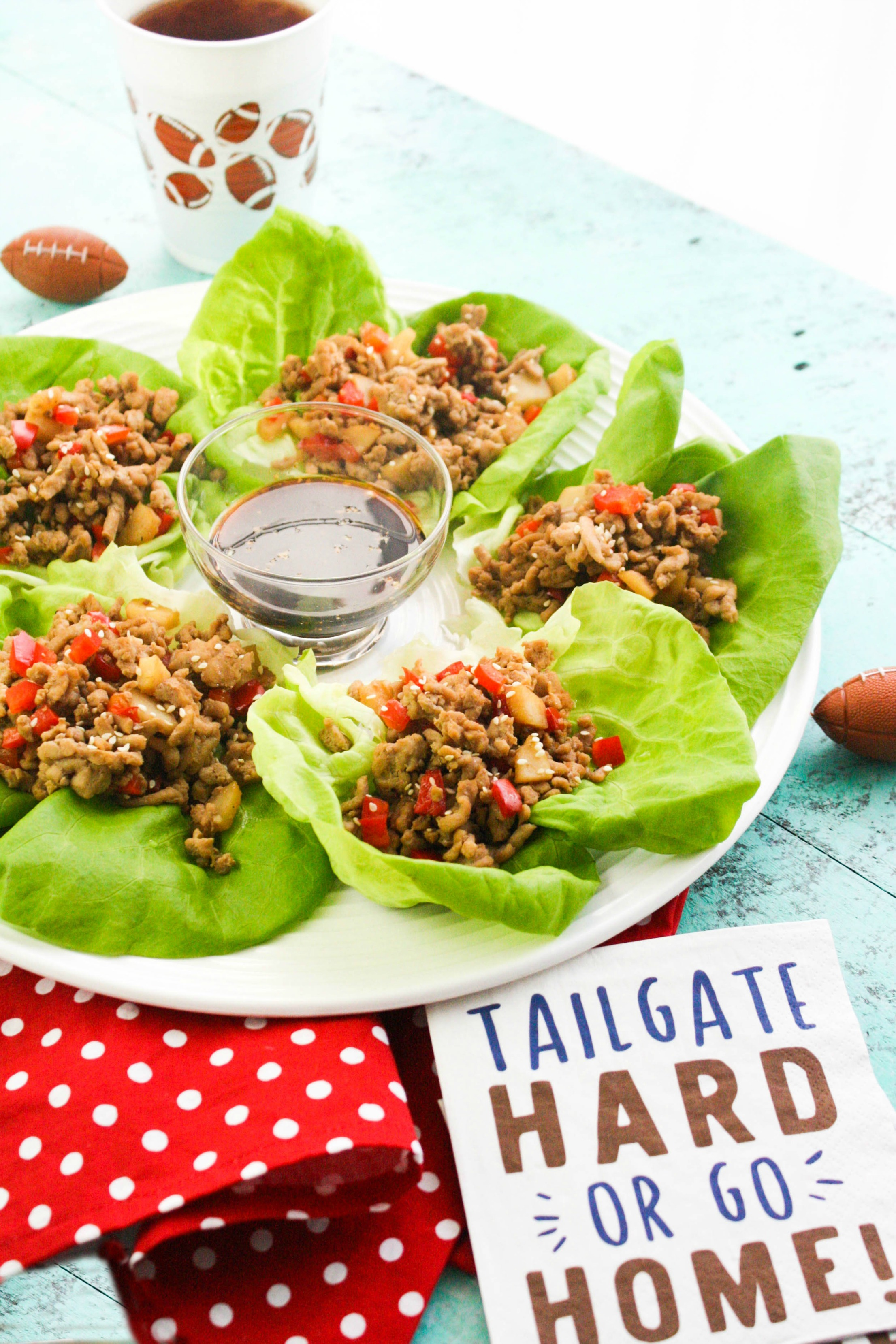Touchdown Turkey Lettuce Wraps are healthy and delicious - fun for a game-day spread. Touchdown Turkey Lettuce Wraps are so easy to make and tasty, too!