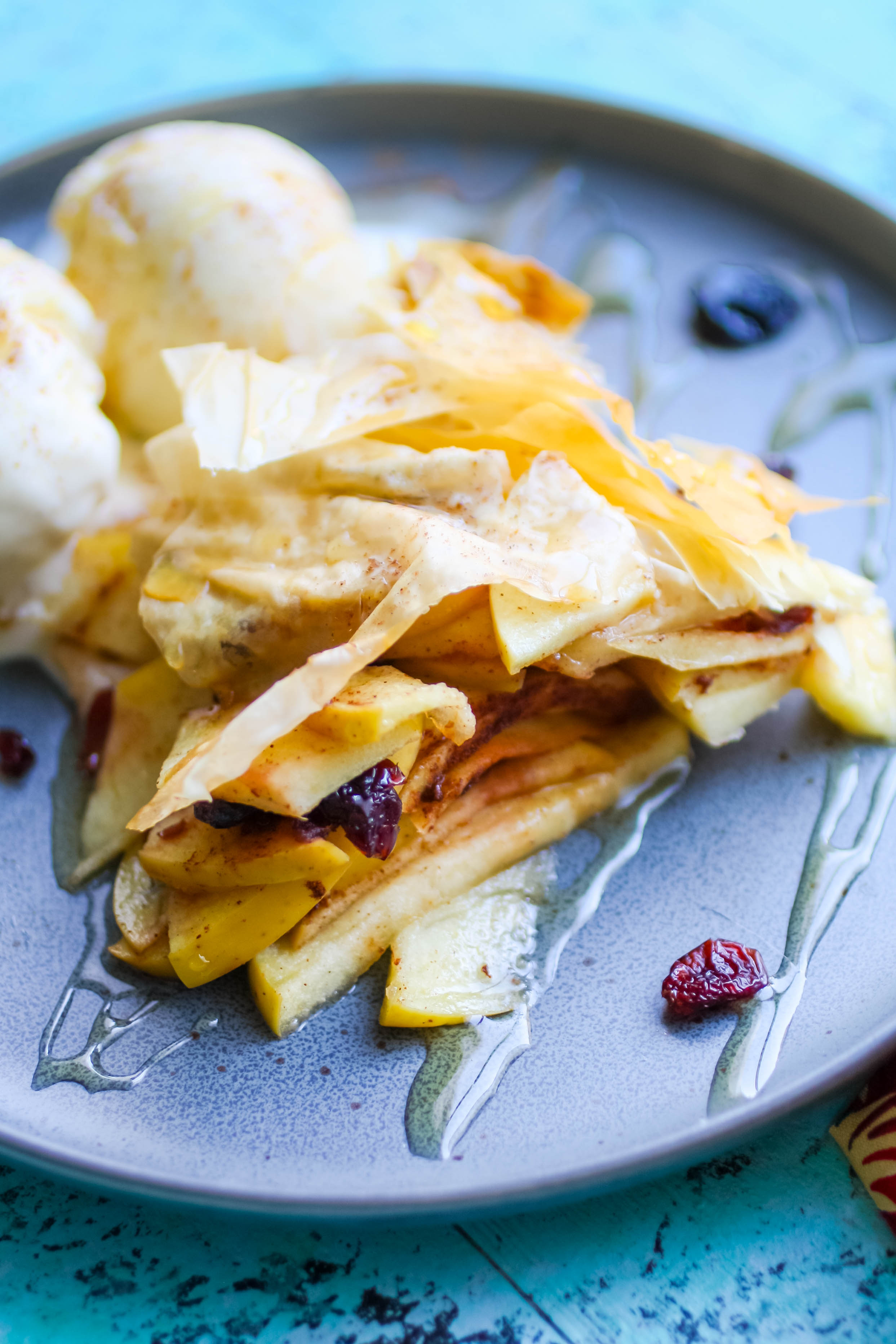 Apple-Cranberry Tart in Phyllo is flaky and fabulous as dessert! Apple-Cranberry Tart in Phyllo is a tasty treat that's flaky and fun!