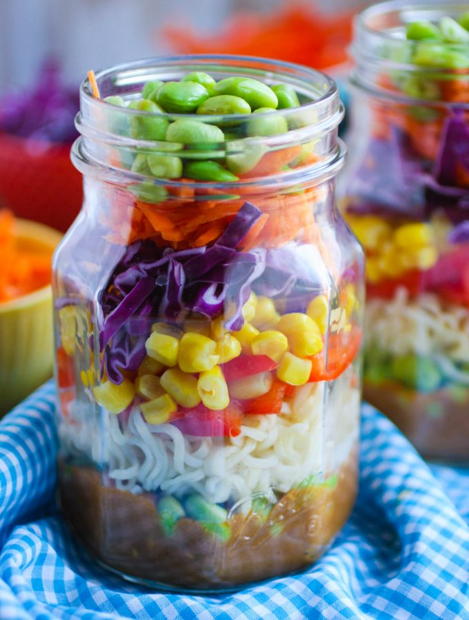 Asian Noodle Salad in a Jar with Spicy Peanut Dressing