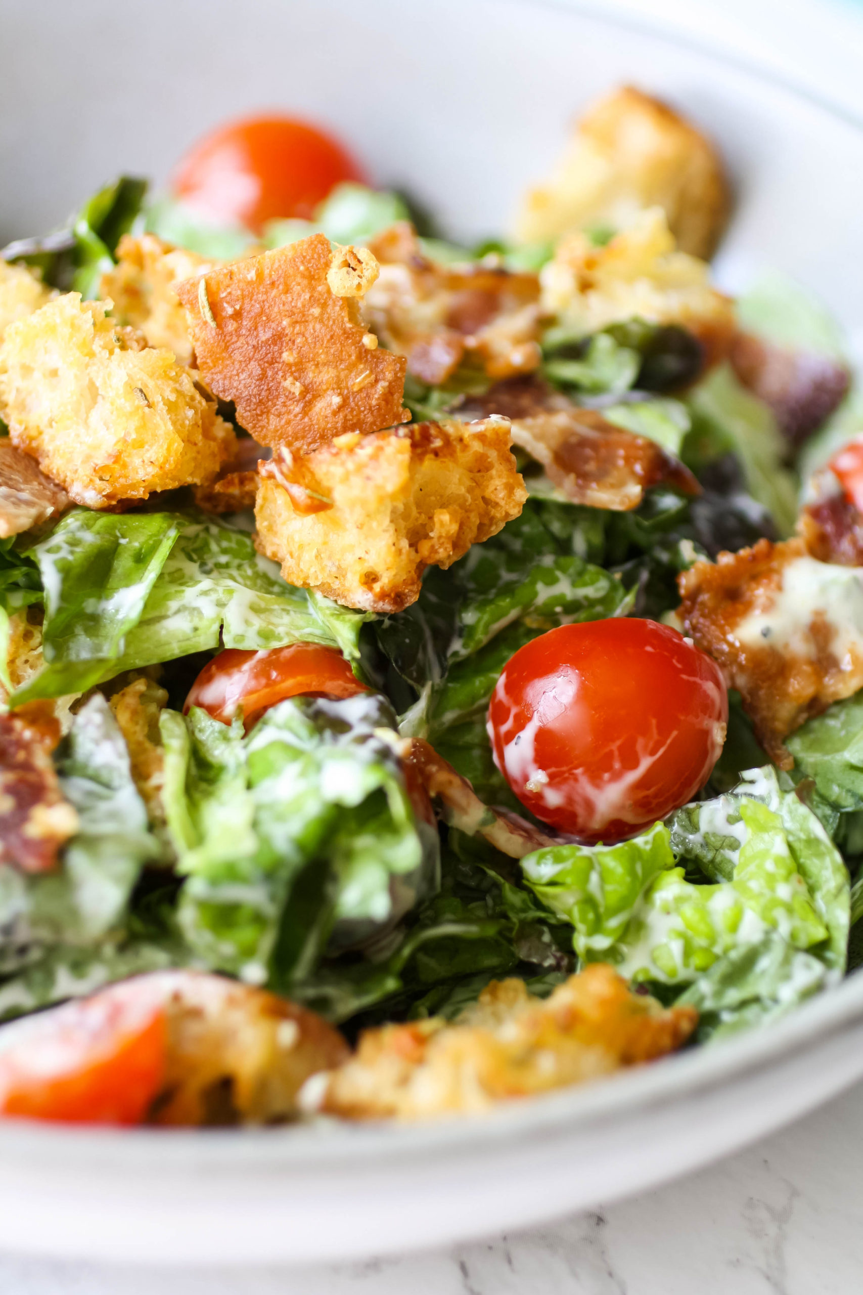Dig in to this BLT Salad with Garlic-Basil Dressing