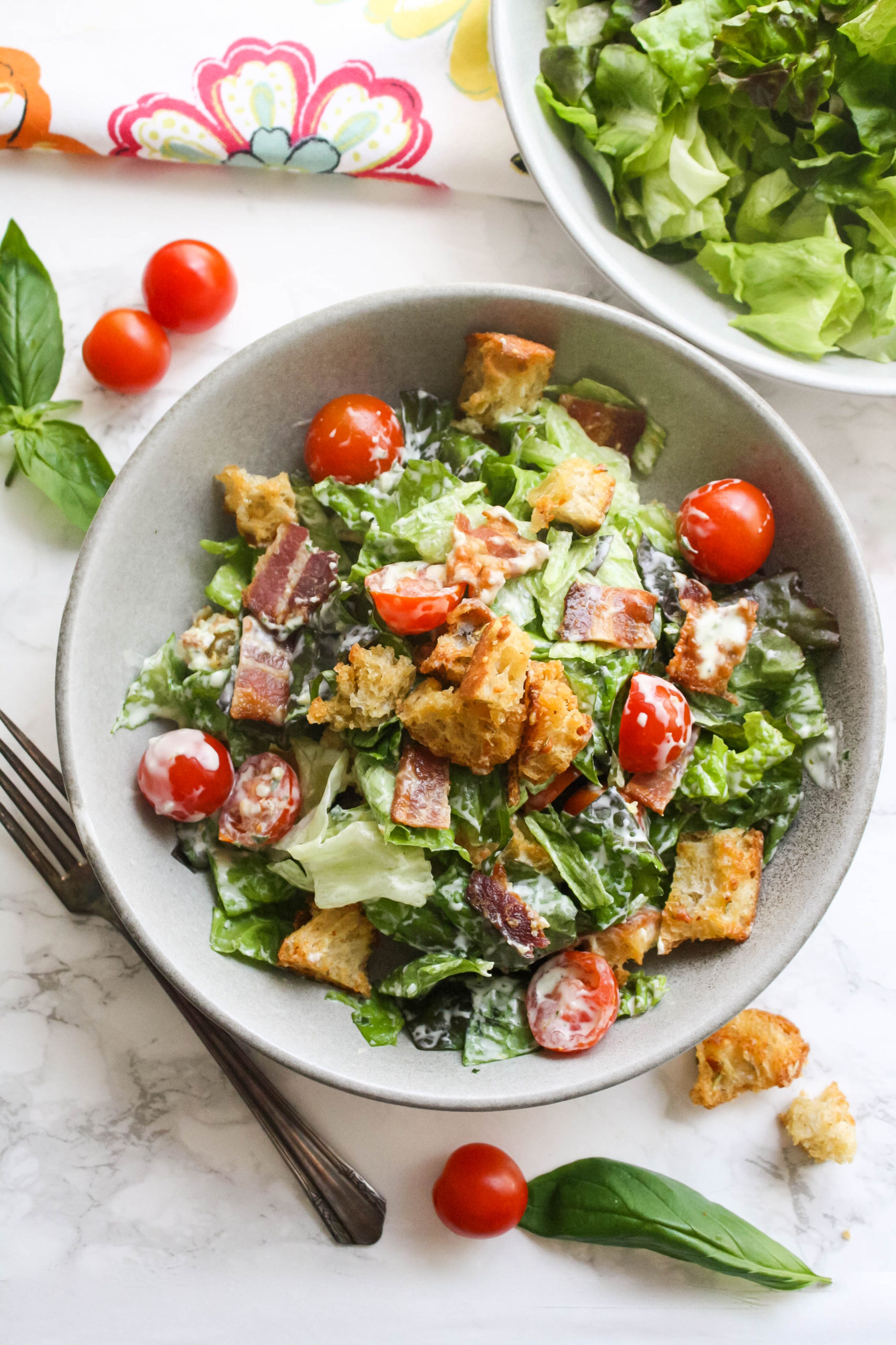 BLT Salad with Garlic-Basil Dressing is a delightful salad.