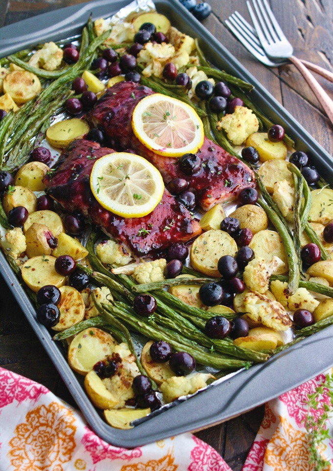 Sheet Pan Blueberry-Balsamic Glazed Salmon is so easy to make, and so delicious, too!
