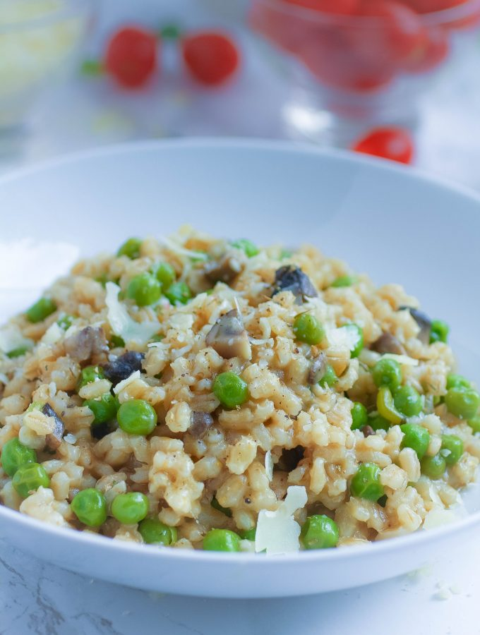Barley Risotto with Mushrooms and Peas