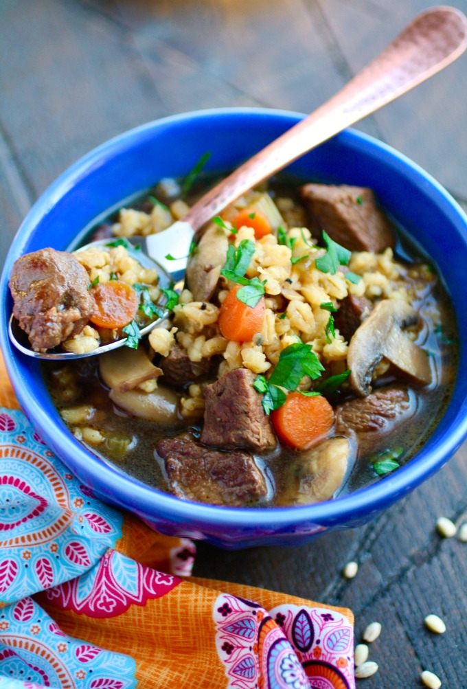 You'll want to dig into a bowl of Beef Barley and Mushroom Soup this season!