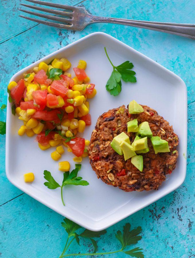 Black Bean Veggie Burgers with Corn Salsa are perfect as a vegetarian meal. These Black Bean Veggie Burgers with Corn Salsa are super tasty!