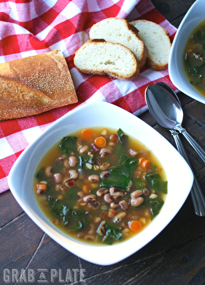 A bowl of Black-Eyed Pea & Swiss Chard Soup with Pancetta is what you need to start the new year right!