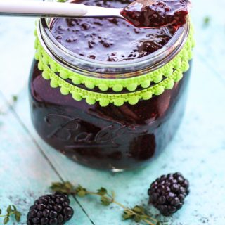 Blackberry-thyme chia seed jam is an easy to make treat. Blackberry-thyme chia seed jam is fruity and delicious.