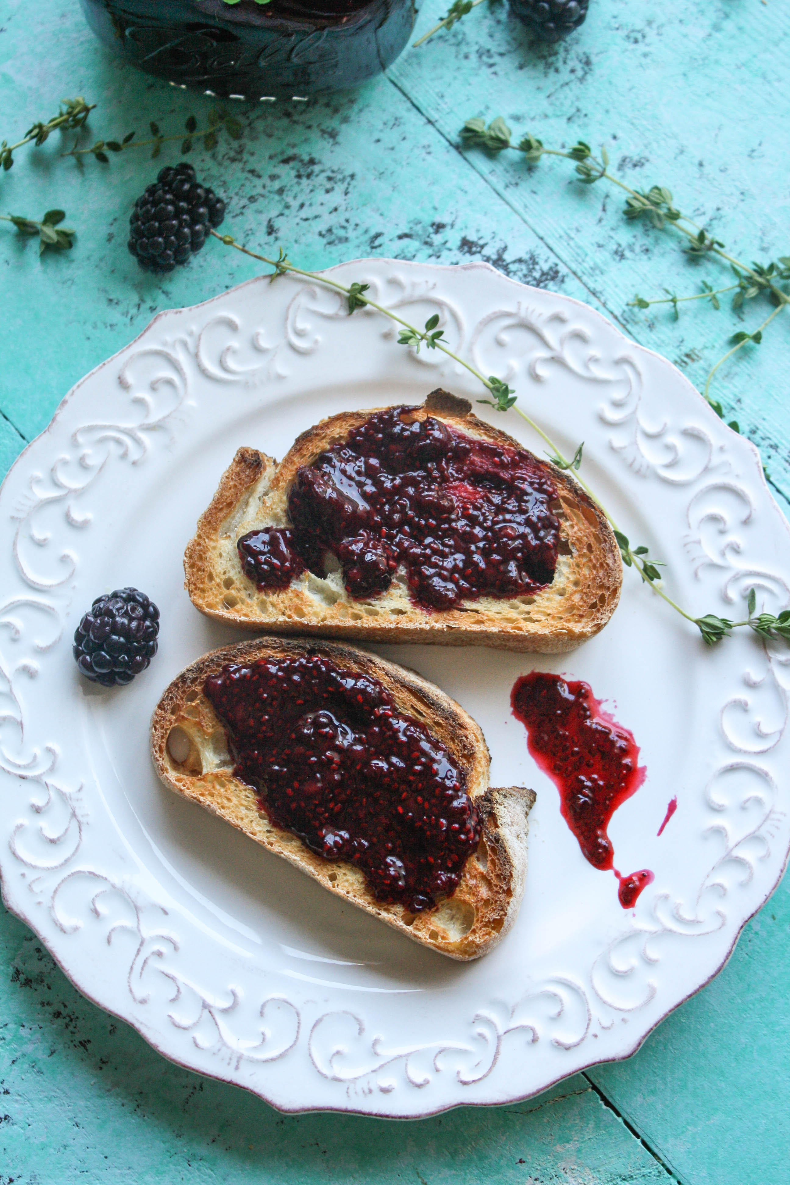 Blackberry-thyme chia seed jam tops toast perfectly! Blackberry-thyme chia seed jam is wonderfully fruity and so easy to make.