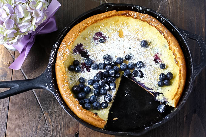 Blueberry Dutch Baby Pancake is perfect for a breakfast dish. Blueberry Dutch Baby Pancake makes a fun treat for a special breakfast or brunch.