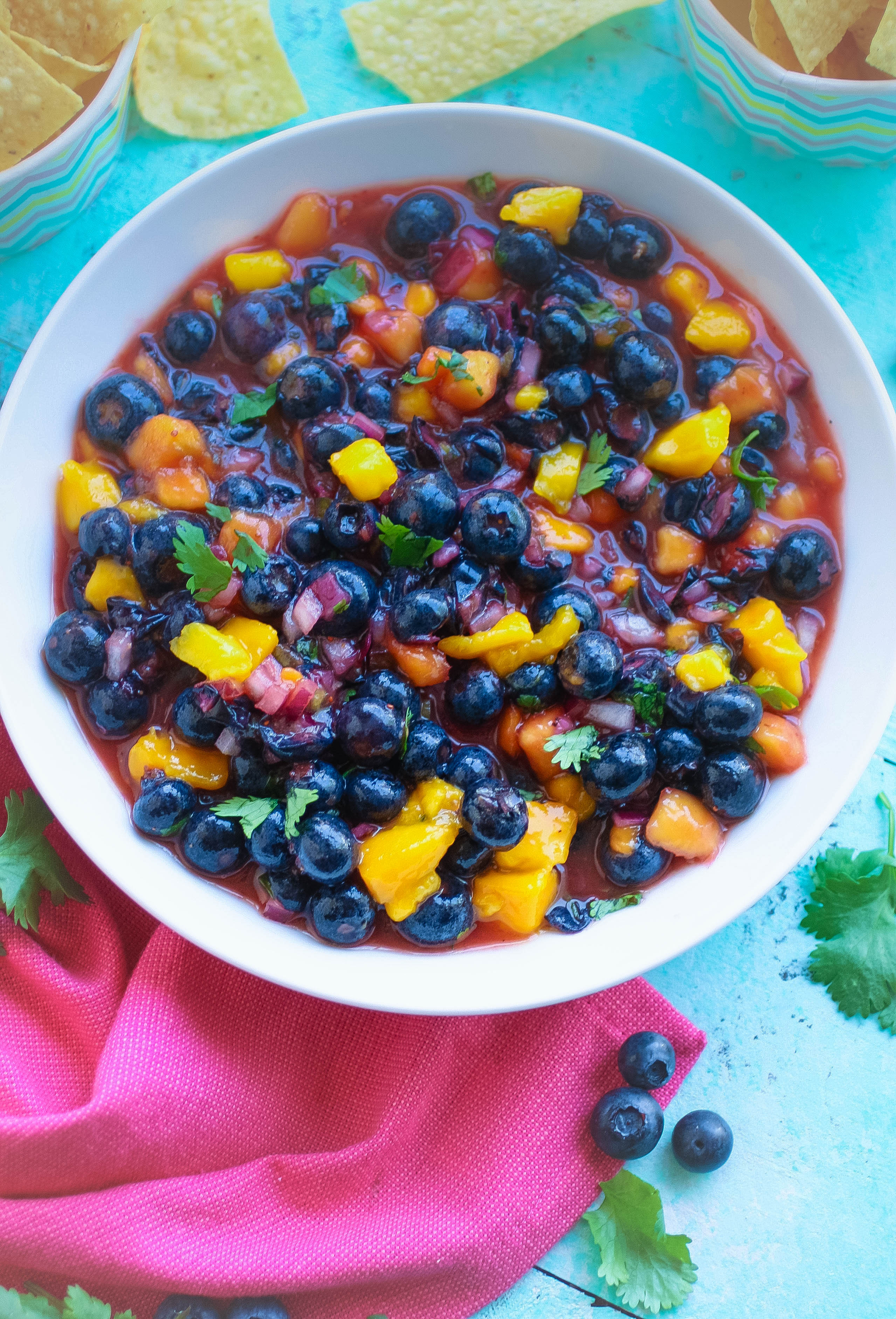 Blueberry-Mango Salsa is something delightfully different to snack on! Blueberry-Mango Salsa should be your new go-to salsa this season!