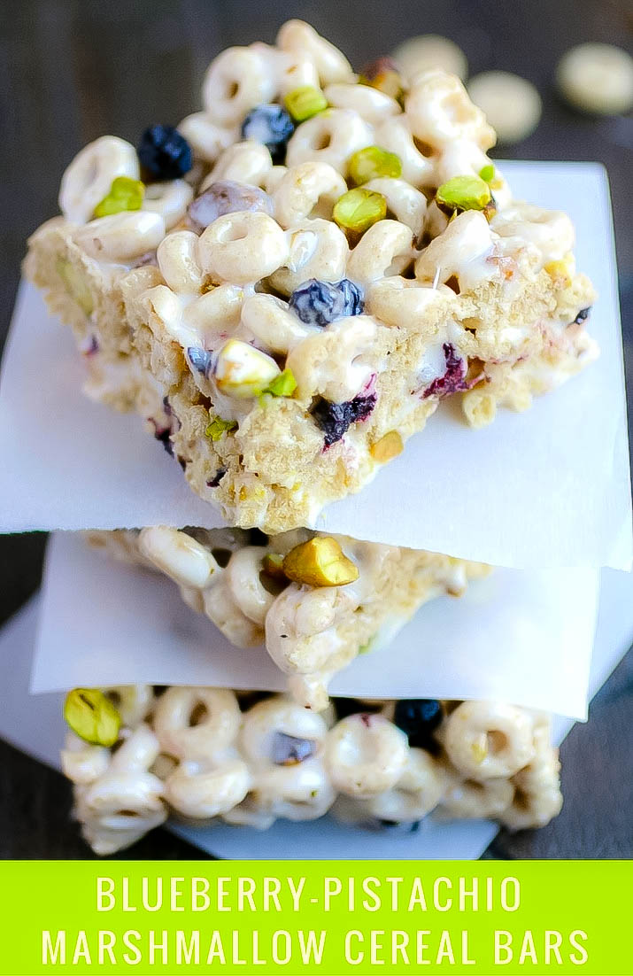 Blueberry-Pistachio Marshmallow Cereal Bars are a tasty snack you can serve anytime. Blueberry-Pistachio Marshmallow Cereal Bars make a classic treat so tasty!