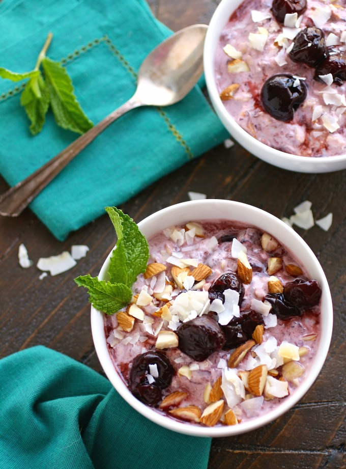 Enjoy breakfast! It's so easy to prep Cherry, Almond & Coconut Overnight Oats with Chia for breakfast the next day!