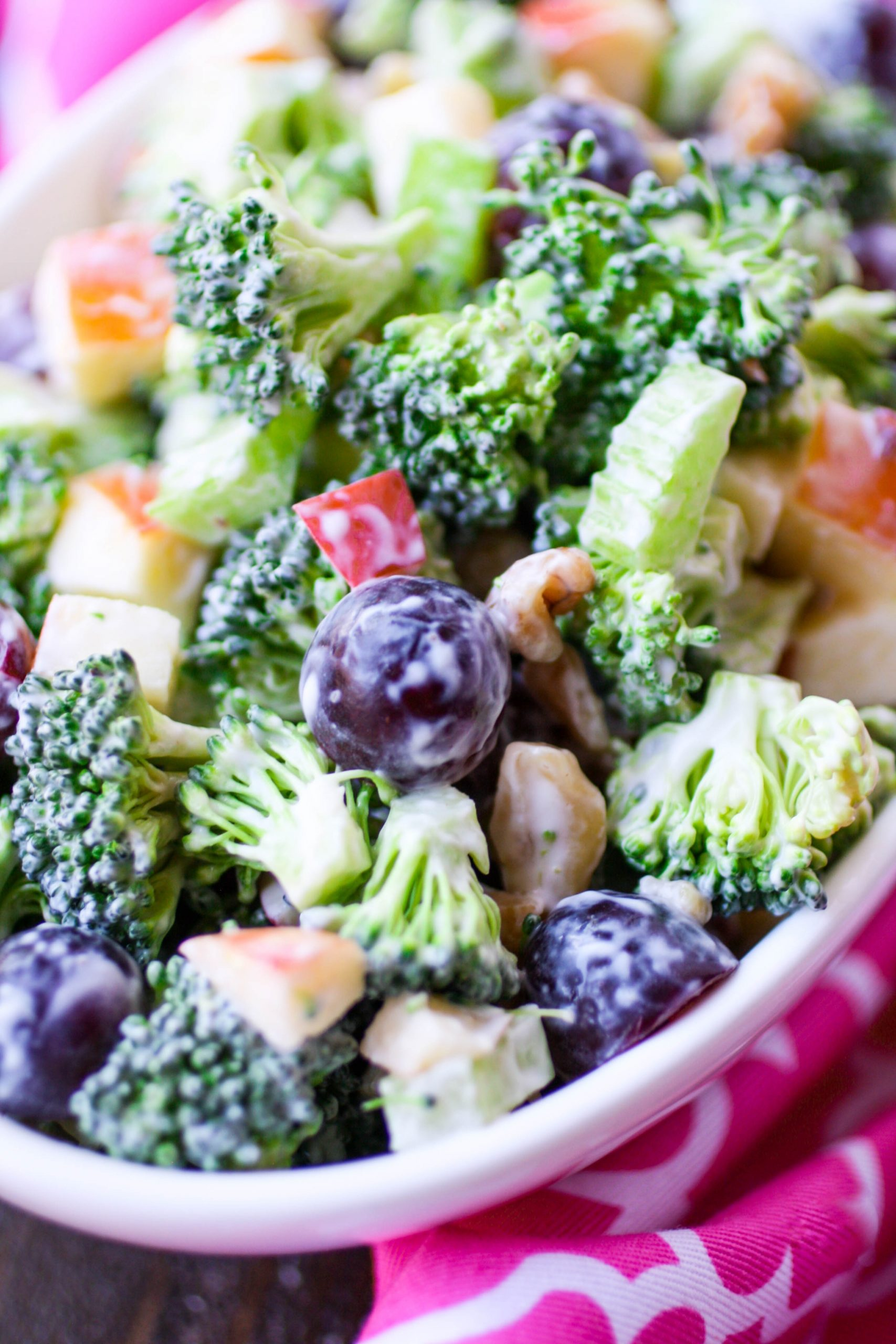 Close-up of all the goodies in a Broccoli Waldorf Salad!