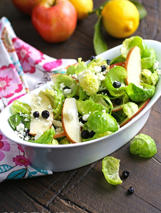 Brussels Sprouts Salad with Apples, Blueberries & Lemon Vinaigrette