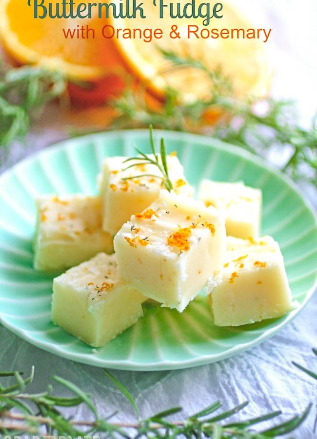Buttermilk Fudge with Orange & Rosemary is a fun treat for the holidays! This buttermilk fudge is tasty and makes a great gift.
