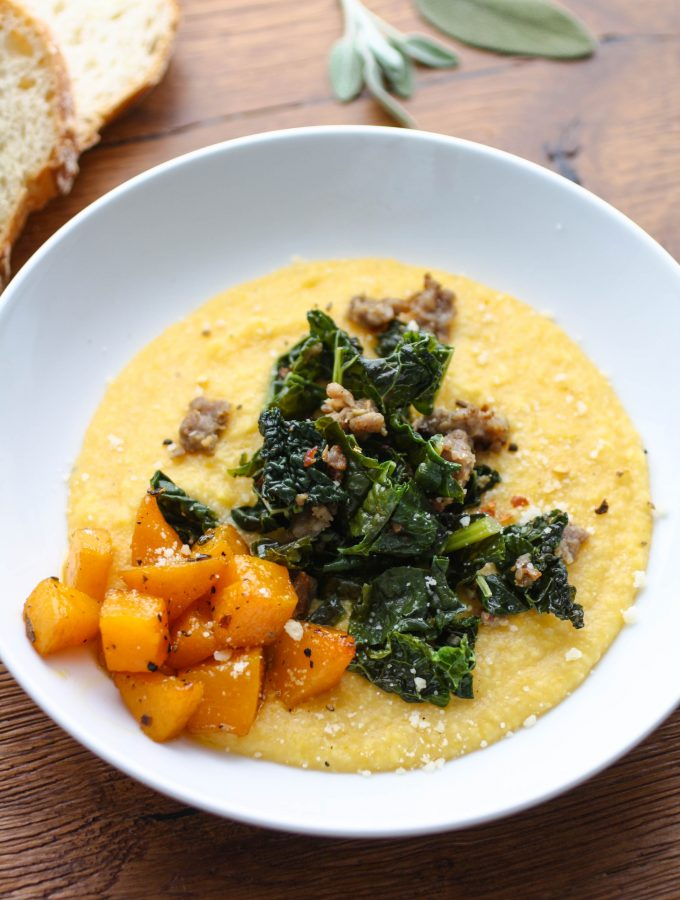 Butternut Squash Grits with Sausage and Kale
