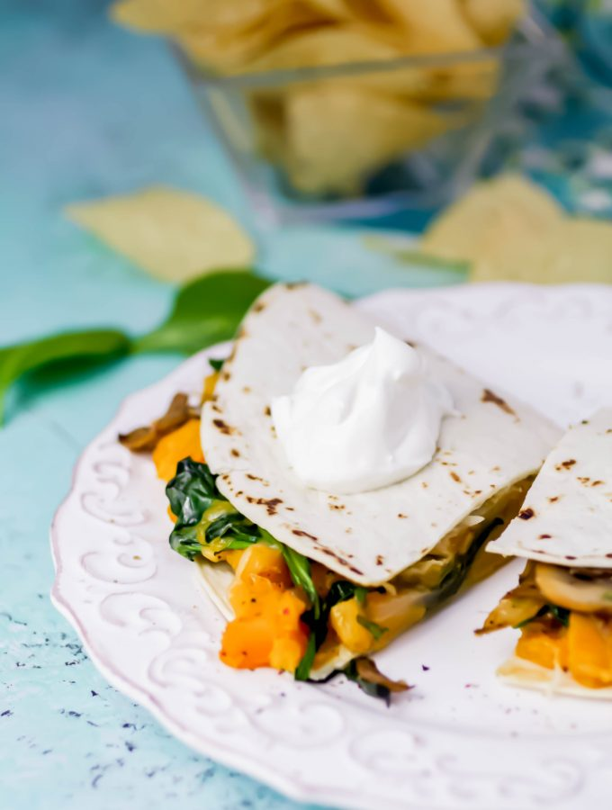 Butternut Squash, Mushroom, Onion, and Spinach Quesadillas