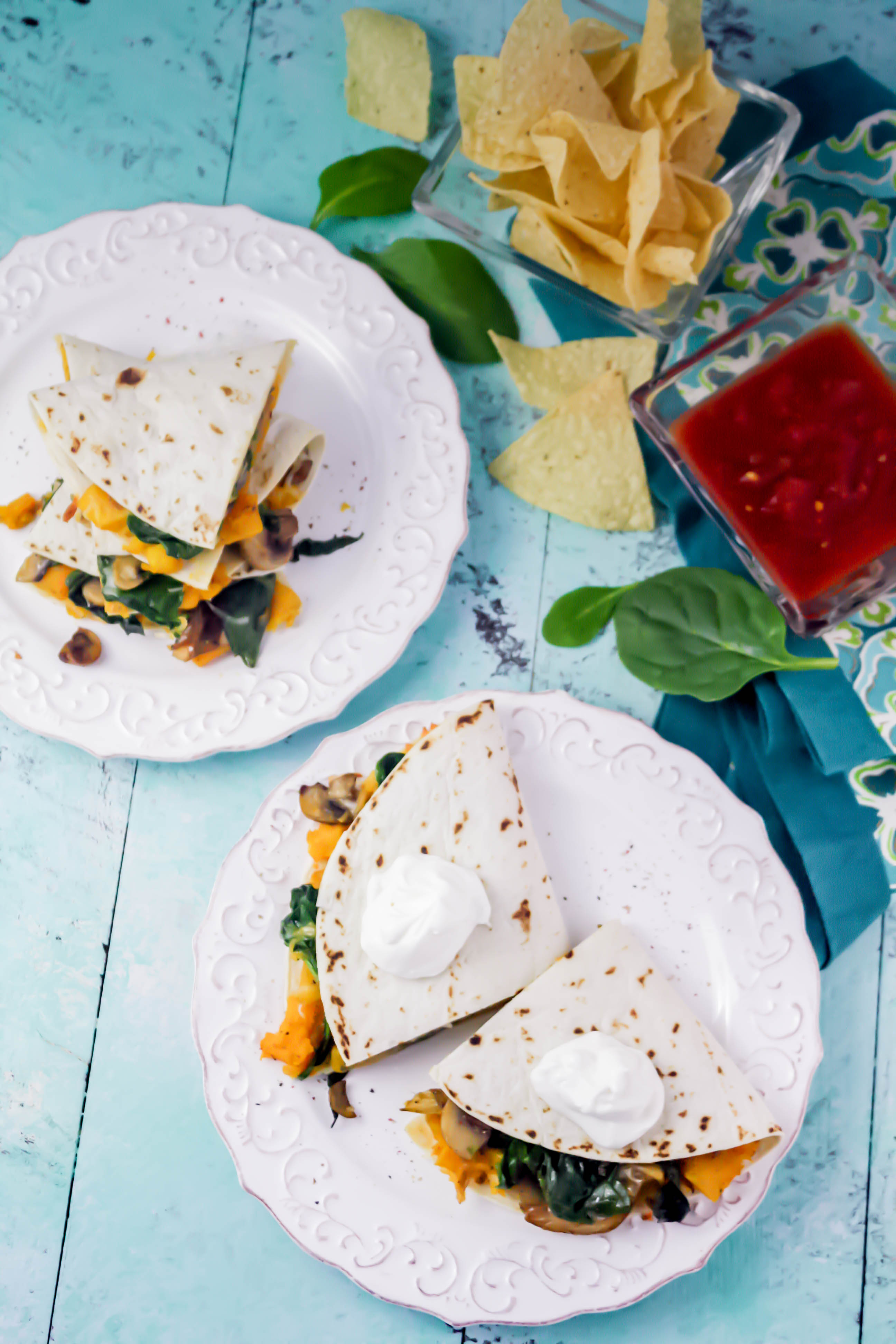 Butternut Squash, Mushroom, Onion, and Spinach Quesadillas are great with guac...or not! Butternut Squash, Mushroom, Onion, and Spinach Quesadillas are easy to make for your next meal.