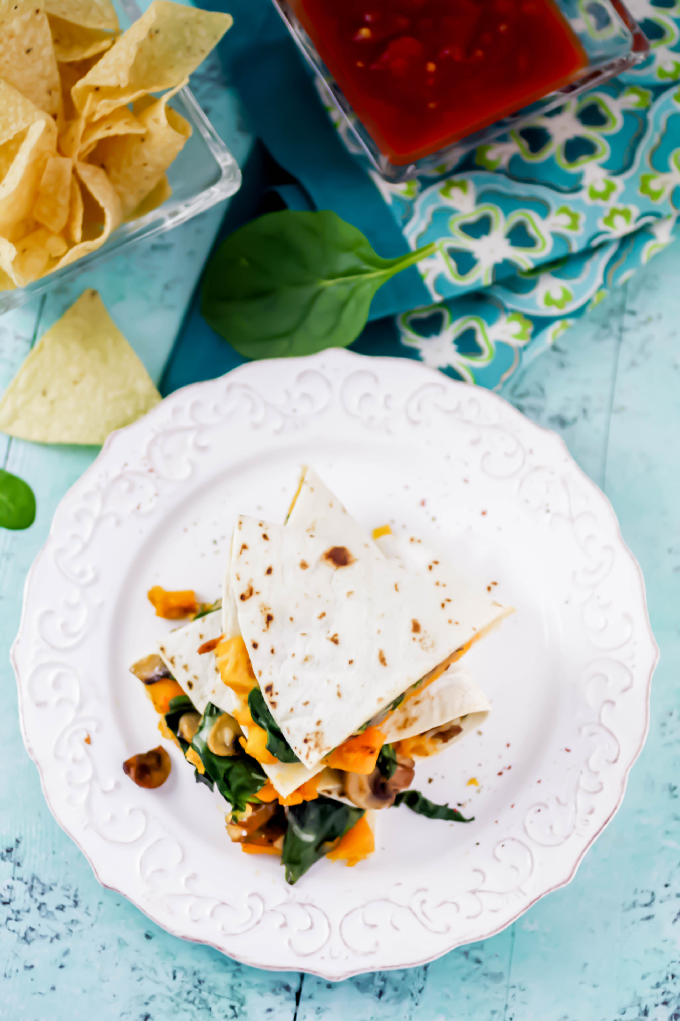 Butternut Squash, Mushroom, Onion, and Spinach Quesadillas are a great easy-meal option. Butternut Squash, Mushroom, Onion, and Spinach Quesadillas include colorful and seasonal ingredients for a fabulous meal.