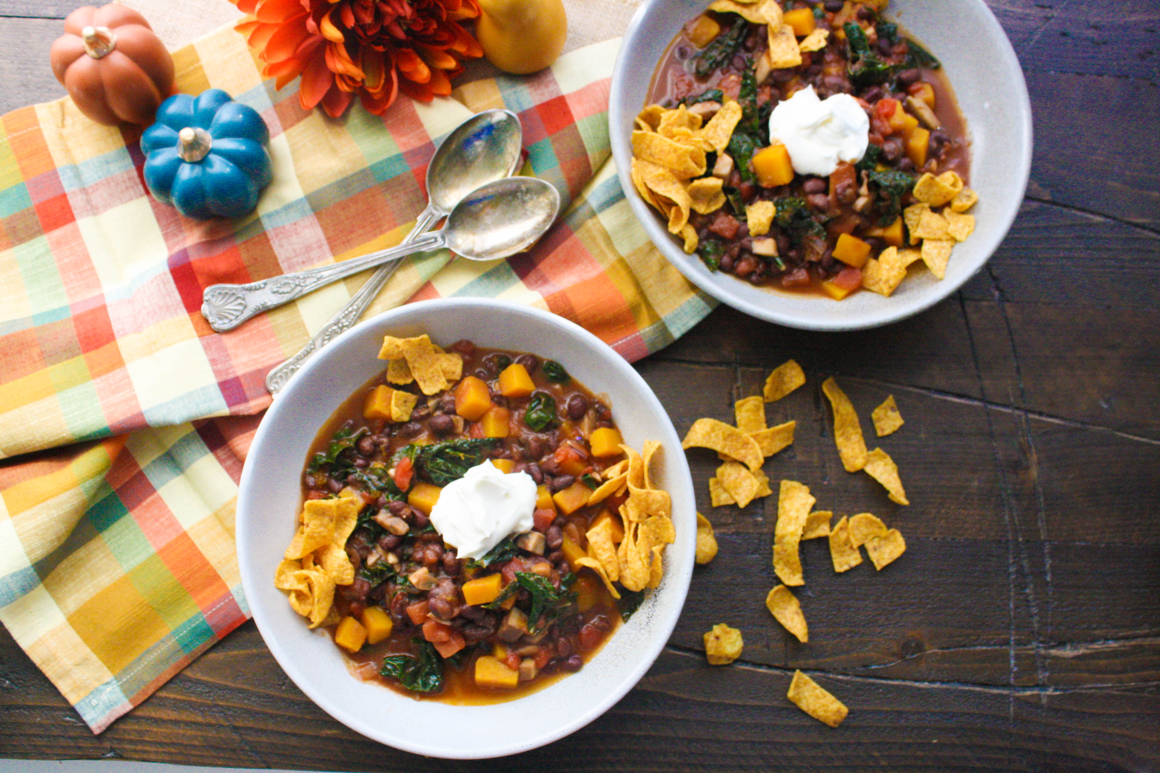 Everyone will love Butternut Squash and Black Bean Chili with Mushrooms & Kale. This recipe for Butternut Squash and Black Bean Chili with Mushrooms & Kale is easy to make, and the result is a tasty meal!
