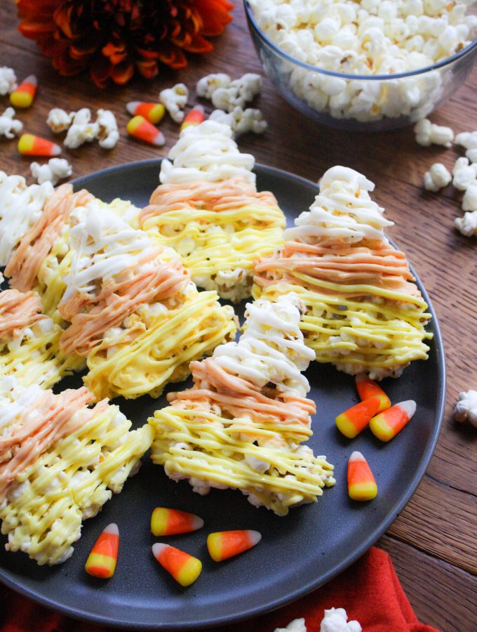 Candy Corn-Shaped Popcorn Treats