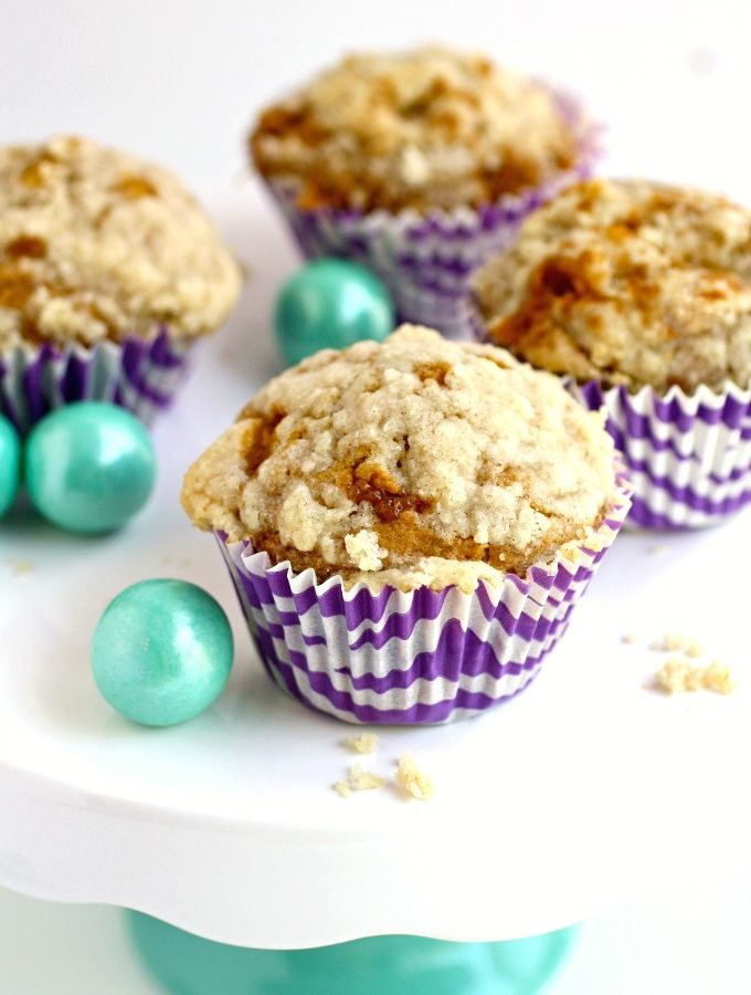 Try these muffins with a fab flavor combo: Caramel Banana Muffins with Streusel Topping - you'll love them!