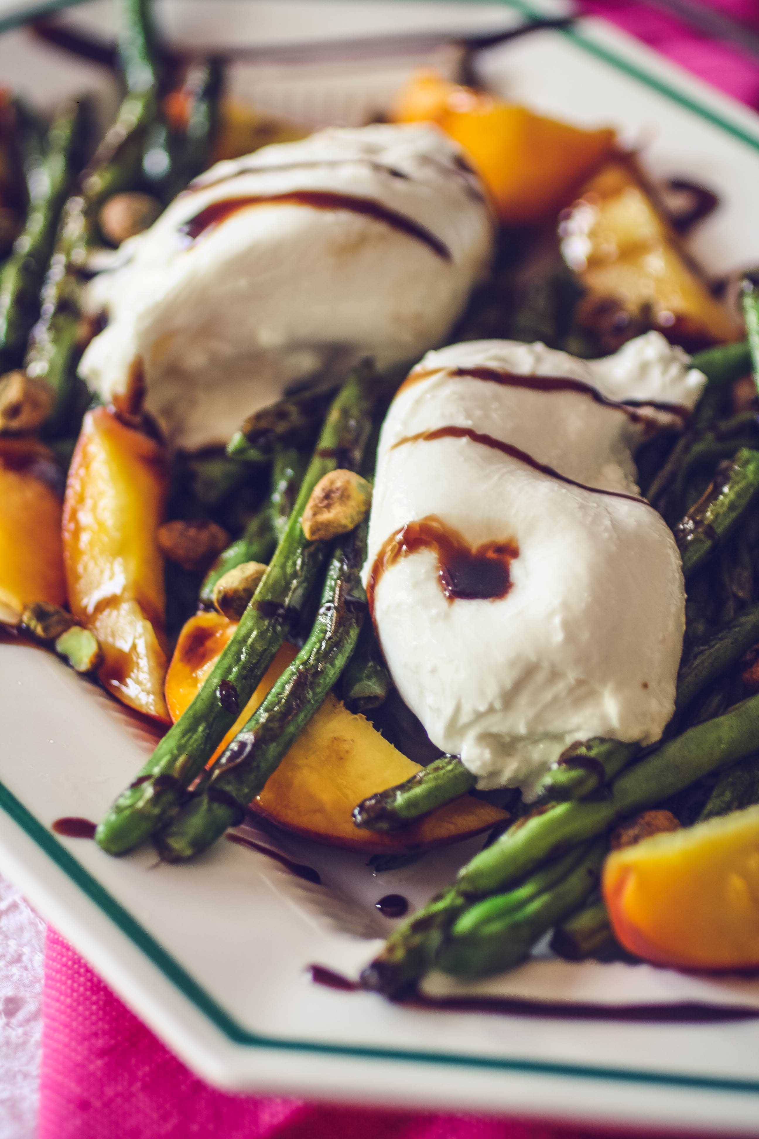 Charred Green Beans with Burrata and Peaches is lovely in the summer. Charred Green Beans with Burrata and Peaches is a great summer salad!