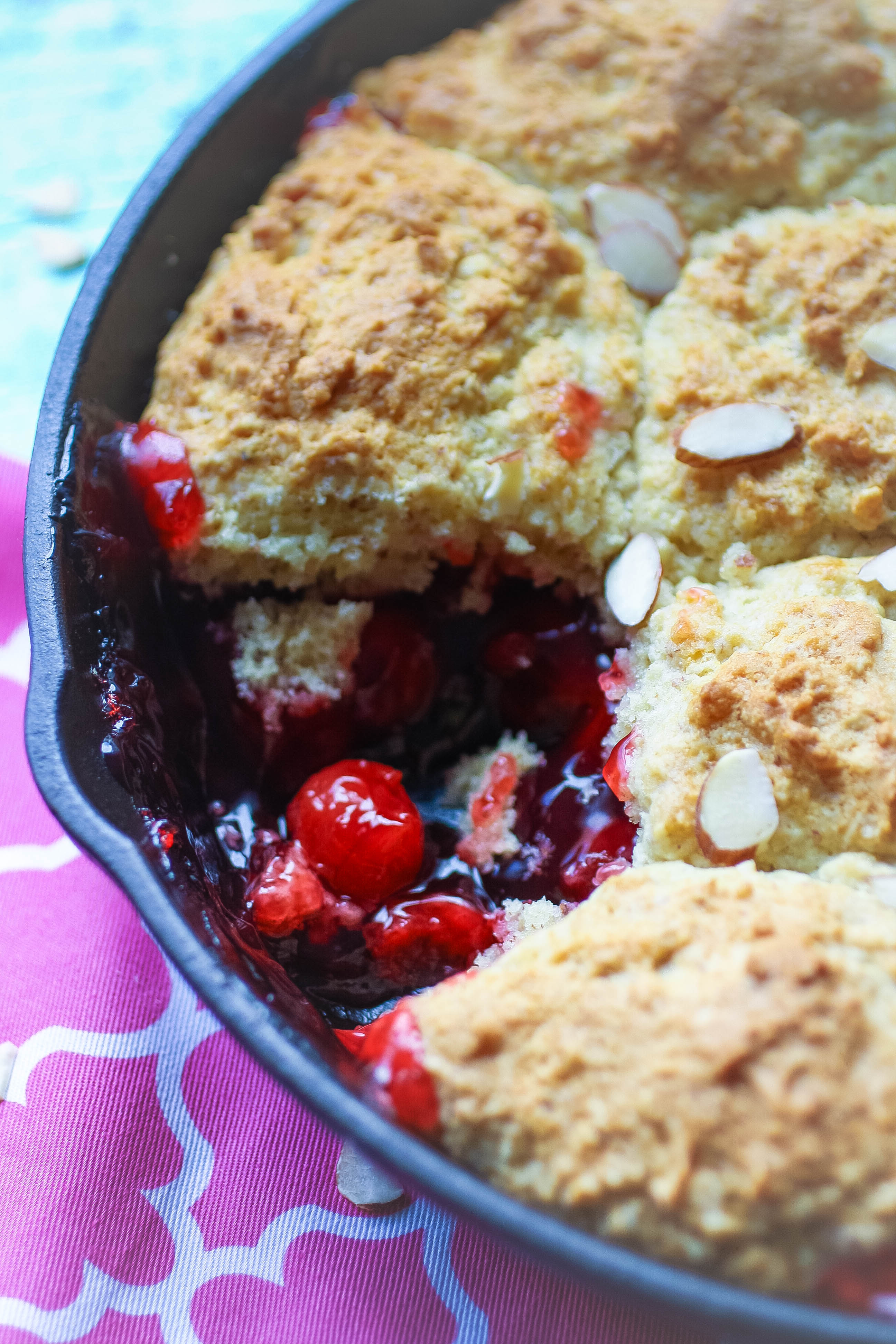 Cherry-Almond Skillet Cobbler makes a fun dessert. You'll enjoy Cherry-Almond Skillet Cobbler as a treat anytime.