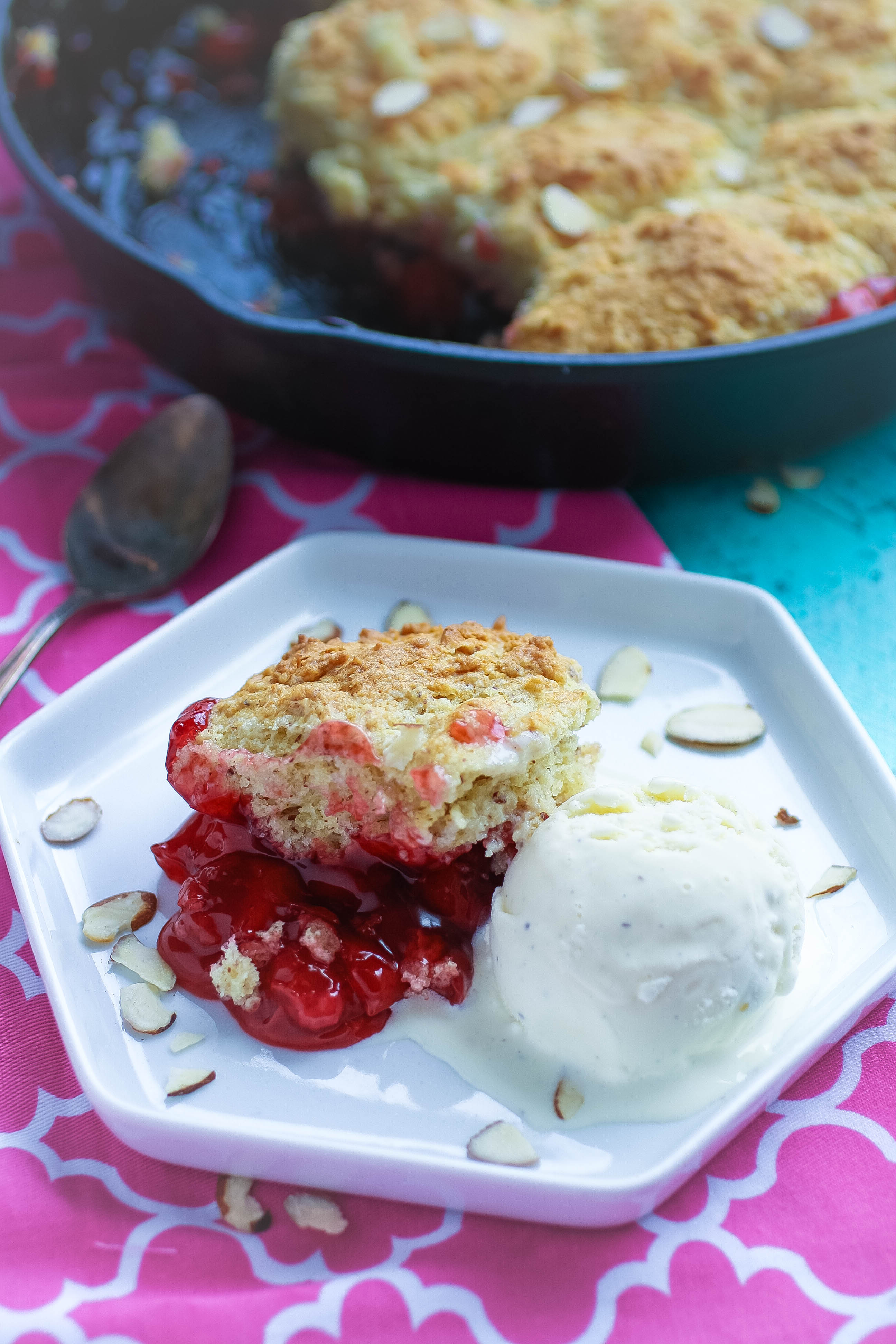 Cherry-Almond Skillet Cobbler is delicious -- especially with ice cream! Cherry-Almond Skillet Cobbler is a dessert to fall in love over!