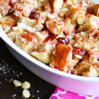 Cherry-Rhubarb and White Chocolate Bread Pudding is a sweet-tart treat that is amazing! Cherry-Rhubarb and White Chocolate Bread Pudding is an easy, springtime dessert you'll love!
