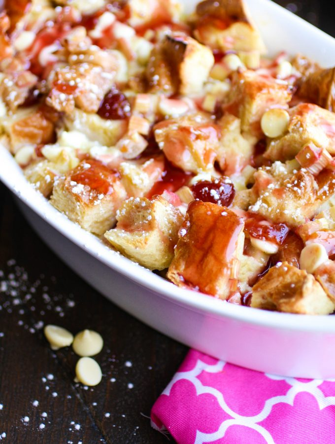 Cherry-Rhubarb and White Chocolate Bread Pudding