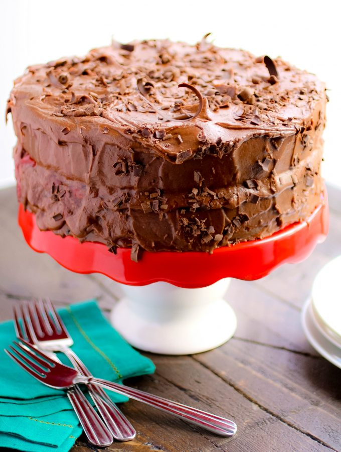 Chocolate Salad Dressing Cake with Cherries and Chocolate Buttercream