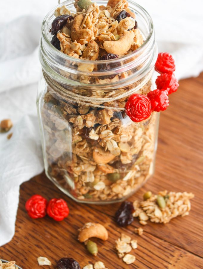 Chunky Cherry-Chai Granola is a great treat for breakfast and beyond! You'll love this homemade granola!