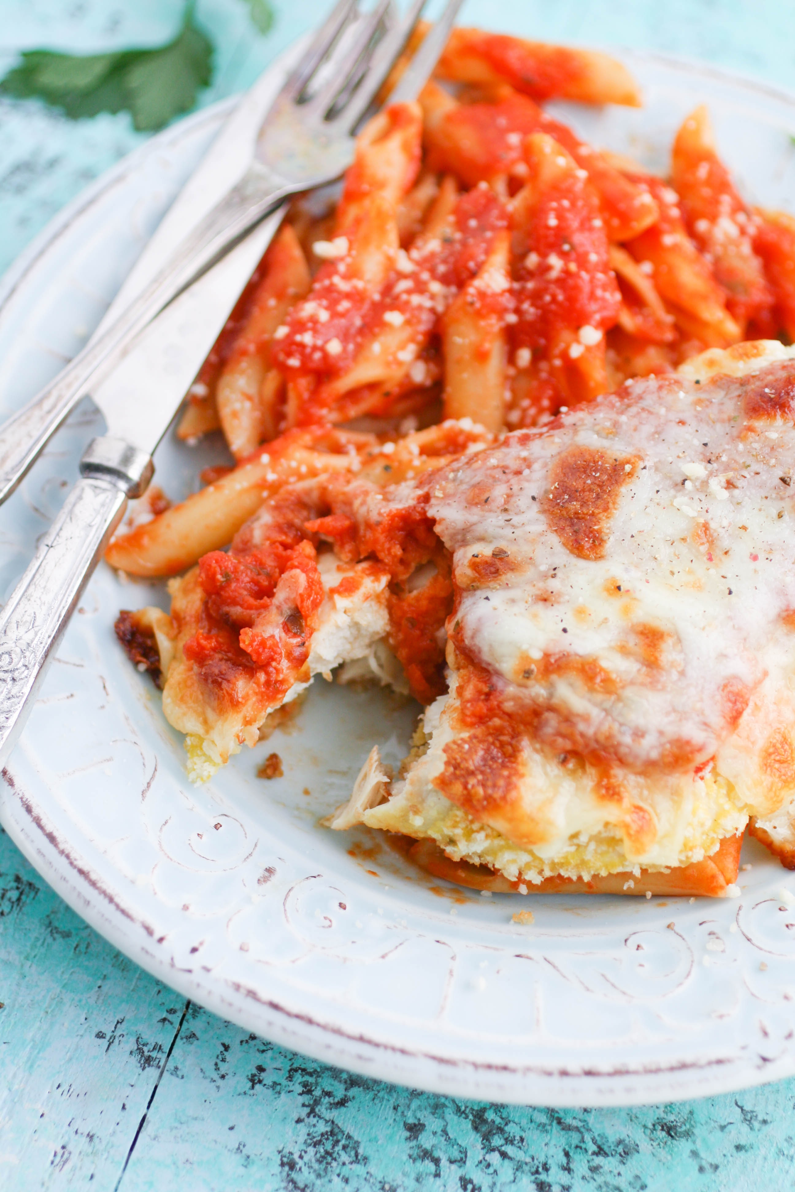 Classic Baked Chicken Parmesan is a great dish to serve along with your favorite pasta! Classic Baked Chicken Parmesan makes a great meal.